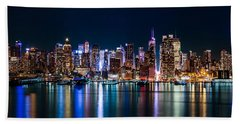 New York Panorama By Night Beach Sheet