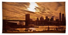 New York Skyline And Brooklyn Bridge -- Late Afternoon Beach Towel