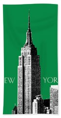 New York Skyline Empire State Building - Forest Green Beach Towel