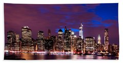 Beach Towel featuring the photograph New York Skyline Magic Hour-- From Brooklyn Heights Promenade by Mitchell R Grosky