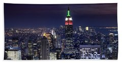 New York Skyline Night Color Beach Towel