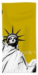 New York Skyline Statue Of Liberty - Gold Beach Towel