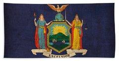 New York State Flag Art On Worn Canvas Beach Towel