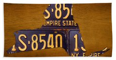 New York State License Plate Map - Empire State Orange Edition Beach Towel