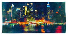 New York State Of Mind Abstract Realism Beach Towel