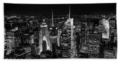 New York Times Square Bw Beach Sheet
