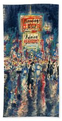 New York Times Square 79 - Watercolor Art Painting Beach Sheet