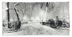 New York Winter Landscape - Madison Square Park Snow Beach Towel