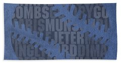 New York Yankees Baseball Typography Famous Player Names On Canvas Beach Towel