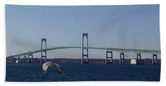 Newport Bridge Beach Towel by Robert Nickologianis