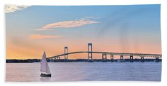 Newport Bridge Twilight Sunset With Sailboat Rhode Island Usa Beach Towel