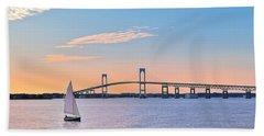 Newport Bridge Twilight Sunset With Sailboat Rhode Island Usa Beach Sheet