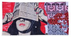Beach Sheet featuring the photograph Shepard Fairey Graffiti Andre The Giant And His Posse Wall Mural by Kathy Barney