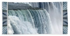 Niagara Falls American Side Closeup With Warp Frame Beach Towel