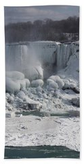 Niagara Falls Ice Buildup - American Falls New York State U S A Beach Towel