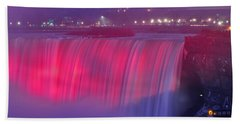 Niagara Falls Pretty In Pink Lights. Beach Towel