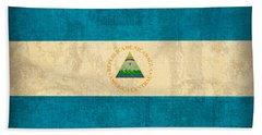 Nicaragua Flag Vintage Distressed Finish Beach Towel