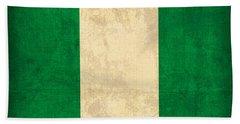 Nigeria Flag Vintage Distressed Finish Beach Towel