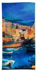 Night Colors Over Riomaggiore - Cinque Terre Beach Towel