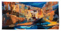 Night Colors Over Riomaggiore - Cinque Terre Beach Sheet by Elise Palmigiani