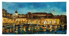 Night In Dubrovnik Harbour Beach Towel
