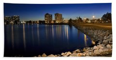 Night Light In Barrie Beach Towel