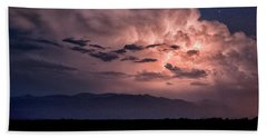Night Lightning Beach Towel