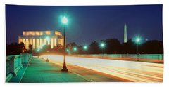 Night, Lincoln Memorial, District Of Beach Sheet by Panoramic Images