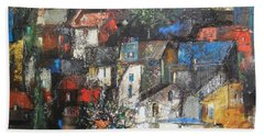Night Over The Town Beach Towel