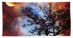 Night Sky Landscape Art By Sharon Cummings Beach Towel