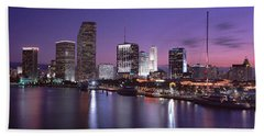 Night Skyline Miami Fl Usa Beach Towel by Panoramic Images