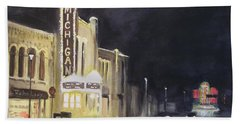 Night Time At Michigan Theater - Ann Arbor Mi Beach Towel by Yoshiko Mishina