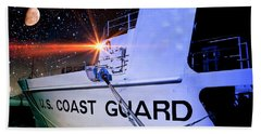 Beach Towel featuring the photograph Night Watch Us Coast Guard by Aaron Berg