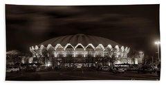 night WVU Coliseum basketball arena Beach Towel by Dan Friend