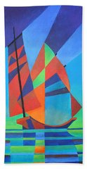 Beach Towel featuring the painting Nightboat by Tracey Harrington-Simpson