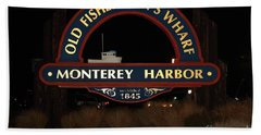 Nightfall At The Old Fishermans Wharf At The Monterey Harbor California 5d25175 Beach Towel