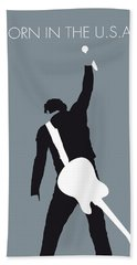 No017 My Bruce Springsteen Minimal Music Poster Beach Towel by Chungkong Art