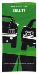 No214 My Bullitt Minimal Movie Poster Beach Sheet