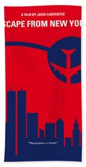 No219 My Escape From New York Minimal Movie Poster Beach Towel by Chungkong Art