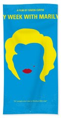 No284 My Week With Marilyn Minimal Movie Poster Beach Towel by Chungkong Art