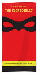 No368 My Incredibles Minimal Movie Poster Beach Towel