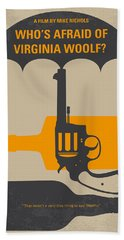 No426 My Whos Afraid Of Virginia Woolf Minimal Movie Poster Beach Towel