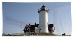 Nobska Lighthouse On Cape Cod At Woods Hole Massachusetts Beach Towel