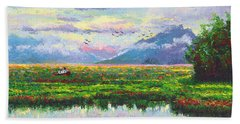 Nomad - Alaska Landscape With Joe Redington's Boat In Knik Alaska Beach Sheet