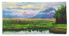 Nomad - Alaska Landscape With Joe Redington's Boat In Knik Alaska Beach Towel
