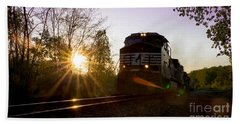 Norfolk And Southern At Sunset Beach Towel