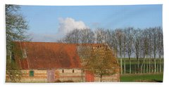 Normandy Storm Damaged Barn Beach Towel by HEVi FineArt
