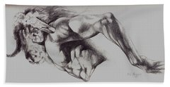 North American Minotaur Pencil Sketch Beach Towel by Derrick Higgins