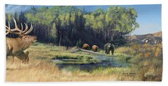 North American Waterhole Beach Towel