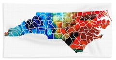 North Carolina - Colorful Wall Map By Sharon Cummings Beach Towel by Sharon Cummings